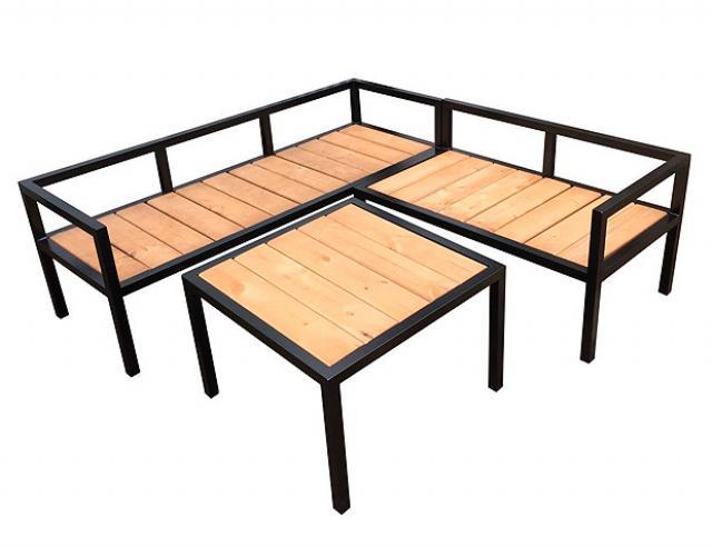 Купить садовый комплект стол и диваны лавочки Уголок  Воронеж с деревянной столешницей. Купить недорогой деревянный комплект уголка стол и диваны для приусадебного участка, дачи.